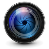 Camera lens, vector illustration.