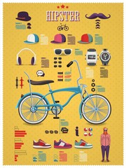 Hipster info graphic background with bicycle