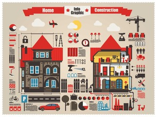 home and construction info graphic elements