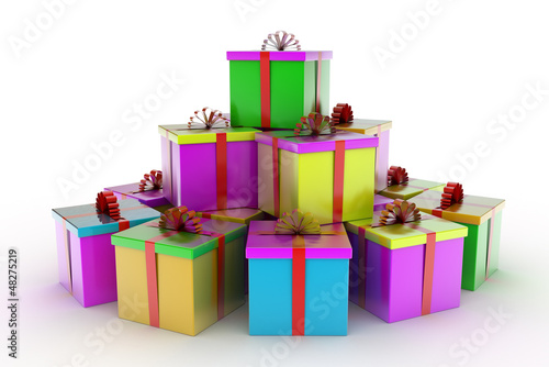 colored gift boxes over white background 3d illustration