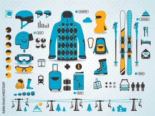 ski info graphics, vector symbols