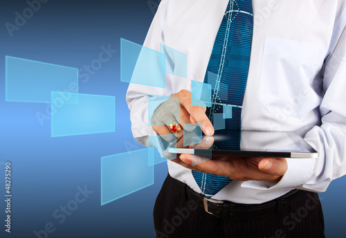 business man with tablet and virtual icon
