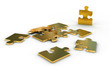 Metallic jigsaw puzzle with an outstanding golden piece