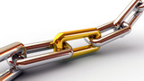 Chrome chain with a golden link on white background