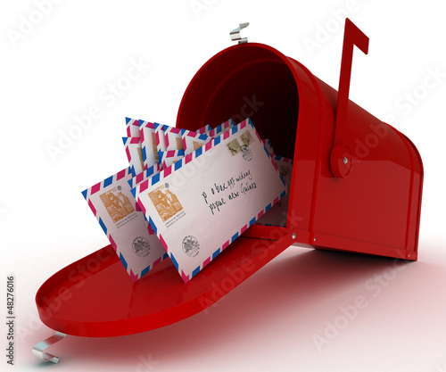 Red mail box with letters. 3D illustration isolated on white