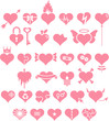 Set of hearts with different motives