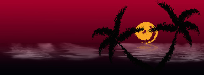 Exotic rest on tropical resort.Abstract dark background