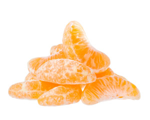 Tangerine slices on a white background