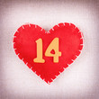 Red heart with wooden numbers 14