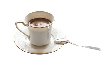 A cup of black cofee with silver spoon isolated on white