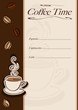 Cafe or restaurant card for coffee menu with cup of hot coffee