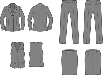 Vector illustration of women's business wear