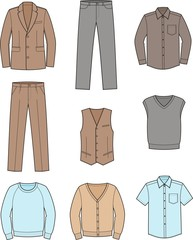 Vector illustration of men's business wear