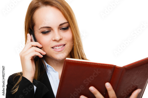 Busy businesswoman portrait