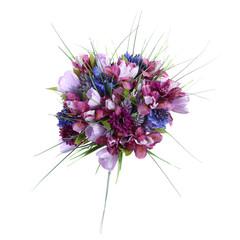 artificial flowers Siberian iris, crocus, cornflower, gomfrena