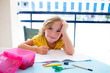 Child student kid girl bored with homework on desk