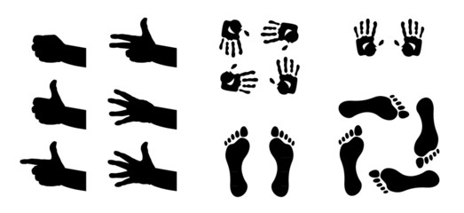 hands, foots and fingers silhouette - illustration
