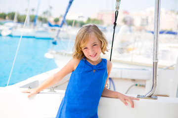 child kid girl in marina boat on summer vacations