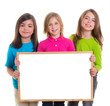 children girls group holding blank white board copy space