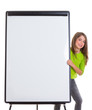 child happy girl with blank flip chart white copy space