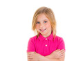 Blond child girl with pink t-shirt smiling portrait