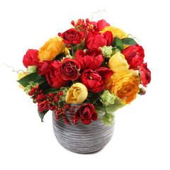 bouquet of rose, gomfrena, ardiziya, tulips in a vase