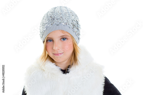 child happy blond kid girl portrait winter wool white cap