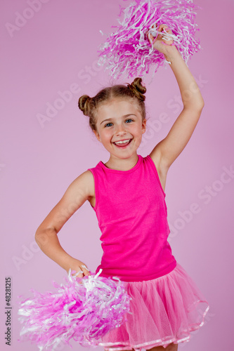 Cheerleder girl with pompoms