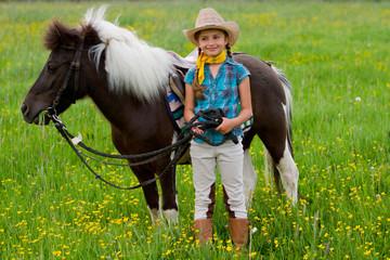 Lovely girl and little pony