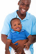 happy african american father and son portrait