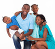 happy afro american family isolated on white