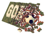 Grass jigsaw puzzle goal concept to win the game