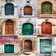 group of italian old doors