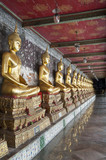 Fototapety Row of golden Buddha's Bangkok
