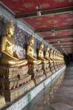 Fototapety Row of golden Buddha's Bangkok