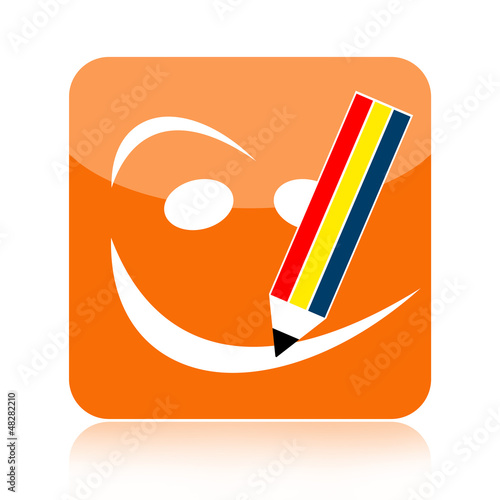 Positive thinking icon with smiley face and pencil