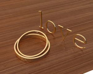 gold wedding ring and love