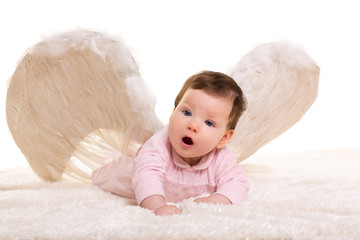 baby girl angel with feather white wings