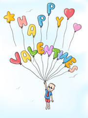 happy valentines ballons
