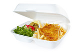Fish and chips portion from fast food service