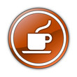 "Orange Glossy Button ""Coffee Shop"""