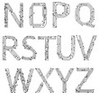 Alphabet of printed circuit boards. Vector. Lowercase N-Z