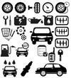 Vector black auto icons set. Car EPS 8
