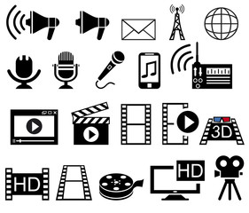Media and Movie icons set.