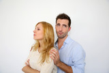 Young couple being upset at each other