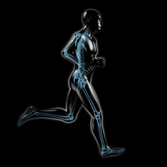 Jogging - Silhouette mit Skelett und Röntgenbild