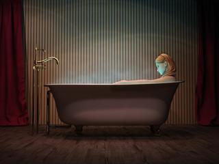 Junge Frau badet in freistehender Wanne 3D