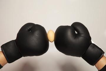 Boxhandschuhe in schwarz mit einem rohen Ei