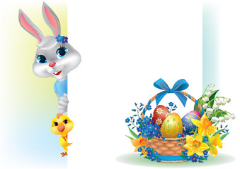 Easter background with rabbit chicken and basket