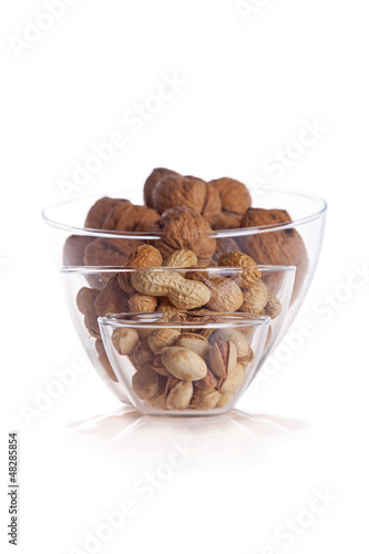 Fresh walnuts and hezelnuts